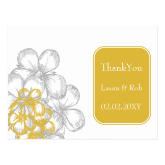 yellow-gray floral  wedding Thank You Post Card
