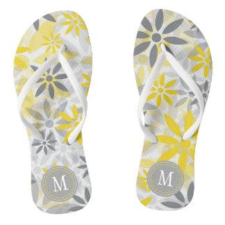 Yellow Gray  Flower Graphic Monogram Thongs