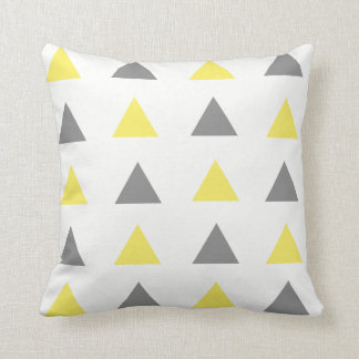 Yellow & Gray Geometric Triangle Throw Pillow