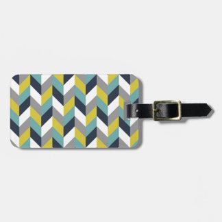 Yellow Gray Green Blue Navy Herringbone Chevron Luggage Tag
