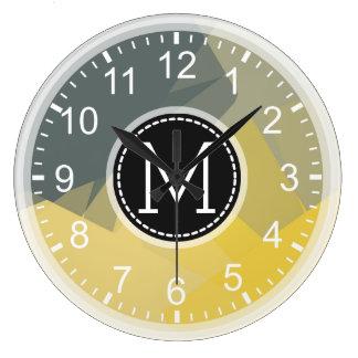 Yellow Gray Mosaic Modern Monogram Large Clock