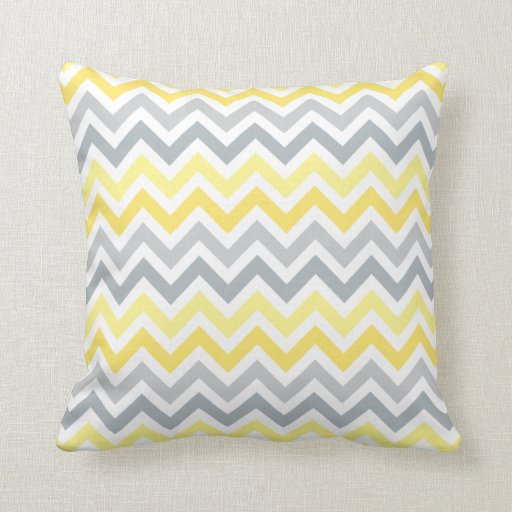 Yellow Gray Ombré Chevron Zigzag Stripes Pillow