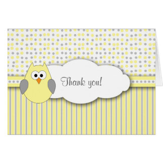 Yellow Gray Owl Mod Baby Shower Thank you note Card