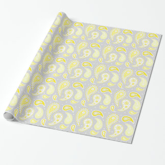 Yellow Gray Paisley Pattern Wrapping Paper