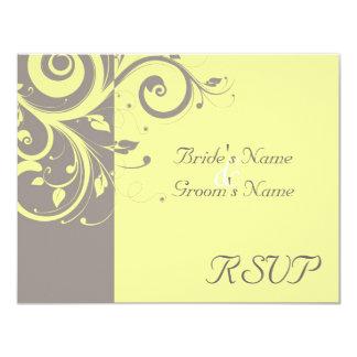 Yellow, Gray Reverse Swirl Wedding Matching RSVP Card