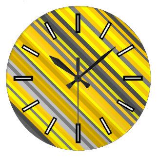 Yellow & Gray Stripes Pattern Clock