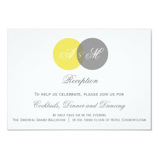 Yellow & Gray Twin Monogram Wedding Reception Card