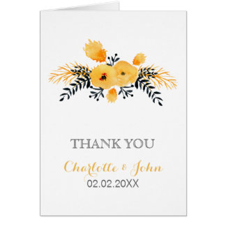 yellow gray watercolor floral wedding Thank You Greeting Card