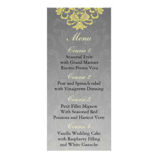 """yellow gray""  Wedding menu Full Color Rack Card"
