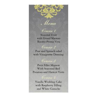 """yellow gray""  Wedding menu Full Color Rack Card"