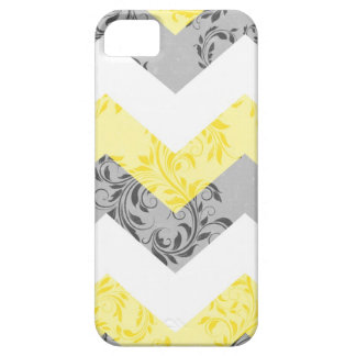 Yellow, Gray & White damask cheveron iPhone 5 case
