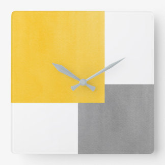 Yellow Gray White Geometric Block Square Wall Clock
