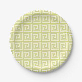 Yellow Greek Key Pattern 7 Inch Paper Plate