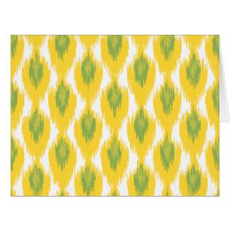 Yellow Green Abstract Tribal Ikat Diamond Pattern Card