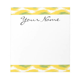 Yellow Green Abstract Tribal Ikat Diamond Pattern Memo Notepads