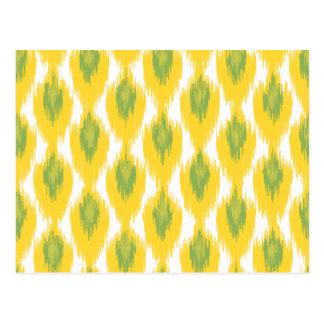 Yellow Green Abstract Tribal Ikat Diamond Pattern Postcard