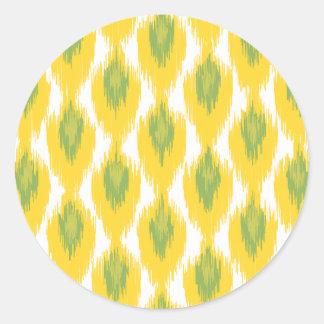 Yellow Green Abstract Tribal Ikat Diamond Pattern Round Sticker