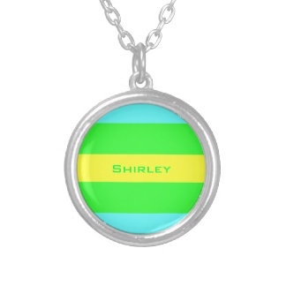 Yellow Green and Blue Wide Stripes Custom Necklace
