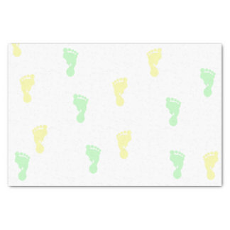Yellow & Green Baby Footprints 10lb Tissue Paper