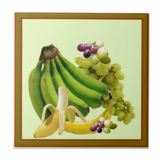 YELLOW-GREEN BANANAS GREEN GRAPES ART DESIGN CERAMIC TILE