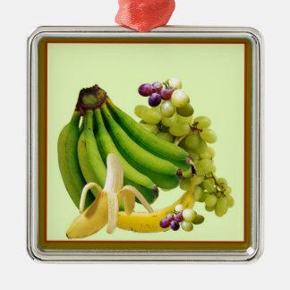YELLOW-GREEN BANANAS GREEN GRAPES ART DESIGN METAL ORNAMENT