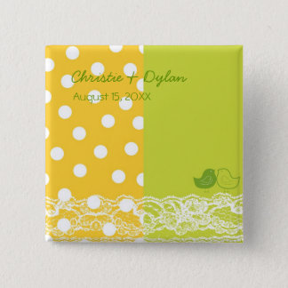 Yellow Green Birds Scrapbook Lace Wedding Button