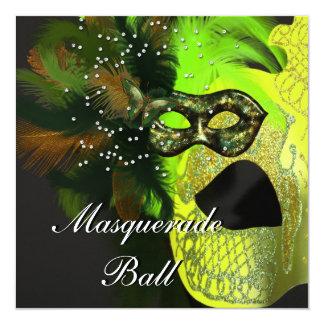 Yellow Green Black Masks Masquerade Ball Party 13 Cm X 13 Cm Square Invitation Card