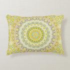Yellow, Green, Blue and Grey Kaleidoscope Flowers Decorative Cushion