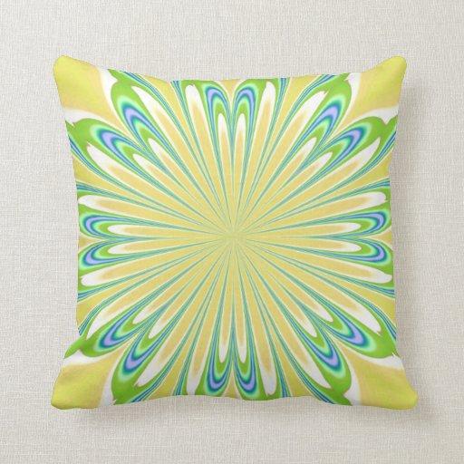 Yellow Green Blue Flower American MoJo Pillows