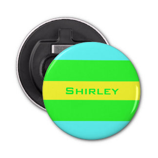 Yellow, Green, Blue Wide Stripes by Shirley Taylor Bottle Opener