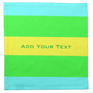 Yellow, Green, Blue Wide Stripes by Shirley Taylor Napkin