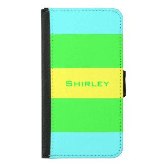 Yellow, Green, Blue Wide Stripes by Shirley Taylor Samsung Galaxy S5 Wallet Case