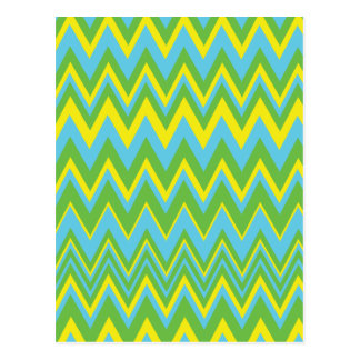 Yellow Green & Blue Zig Zag Pattern Postcards
