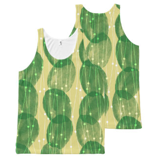 Yellow Green Cactus Fringe All-Over Print Singlet