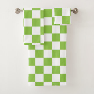 Yellow Green Checkerboard Bath Towel Set