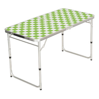 Yellow Green Checkerboard Pattern Beer Pong Table