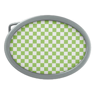 Yellow Green Checkerboard Pattern Belt Buckles