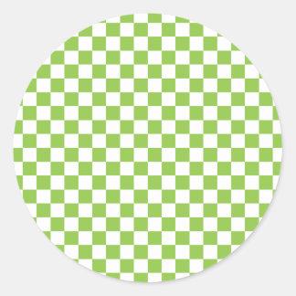 Yellow Green Checkerboard Pattern Classic Round Sticker
