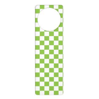Yellow Green Checkerboard Pattern Door Hanger