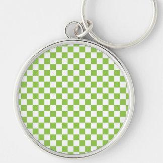 Yellow Green Checkerboard Pattern Key Ring