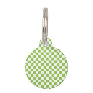 Yellow Green Checkerboard Pattern Pet ID Tag