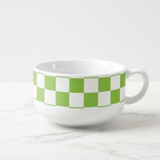 Yellow Green Checkerboard Pattern Soup Mug