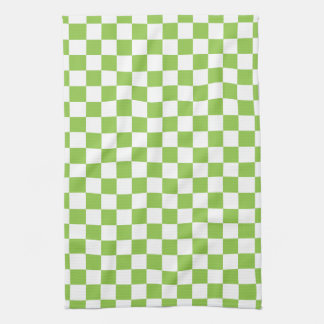 Yellow Green Checkerboard Pattern Tea Towel