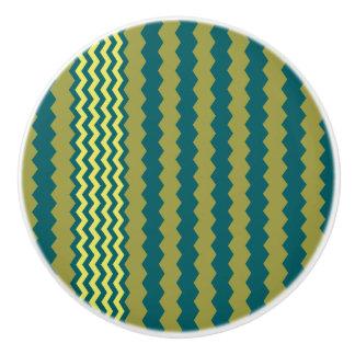 Yellow-Green Chevron Design - Drawer Knob