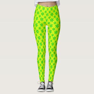Yellow & Green Decorative geometric pattern Leggings