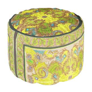 Yellow & green floral pattern pouf