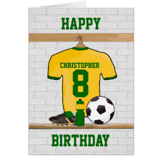 Yellow Green Football Soccer Jersey Birthday Greeting Card