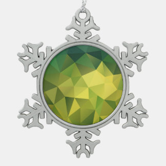Yellow green pattern snowflake pewter christmas ornament