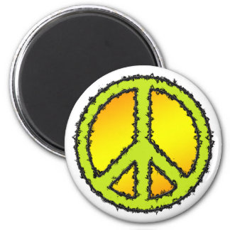Yellow Green Peace Sign Magnet