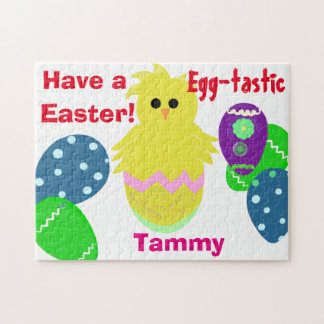Yellow Green Pink Chick Easter Eggs NAME Jigsaw Puzzle